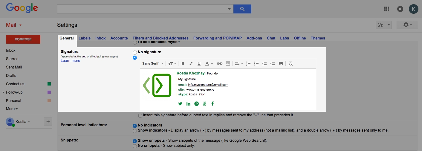 how to set signature in gmail