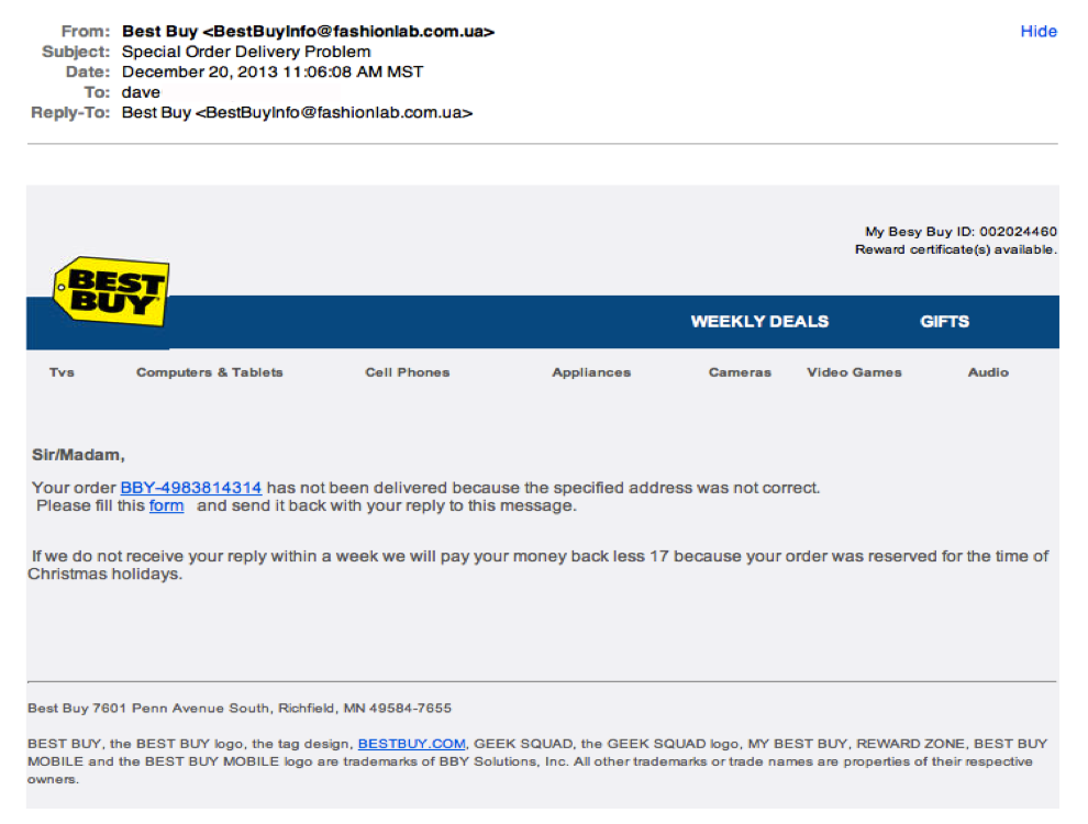 Phishing attempt Best Buy