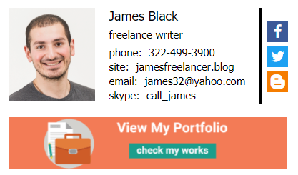 Freelancer email signature with a banner