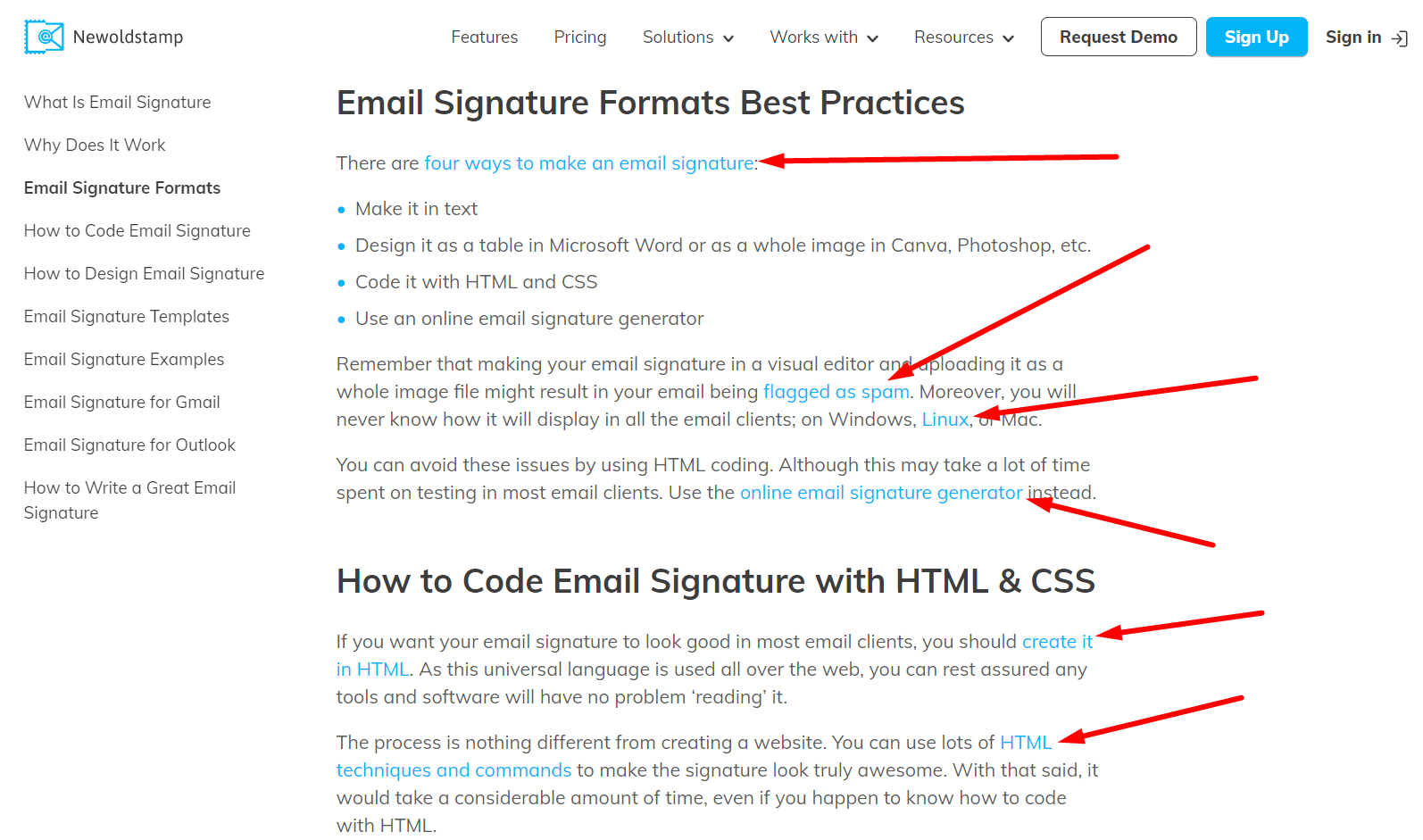 Linking example for landing pages