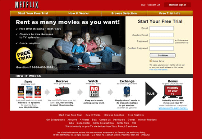 Old landing page example