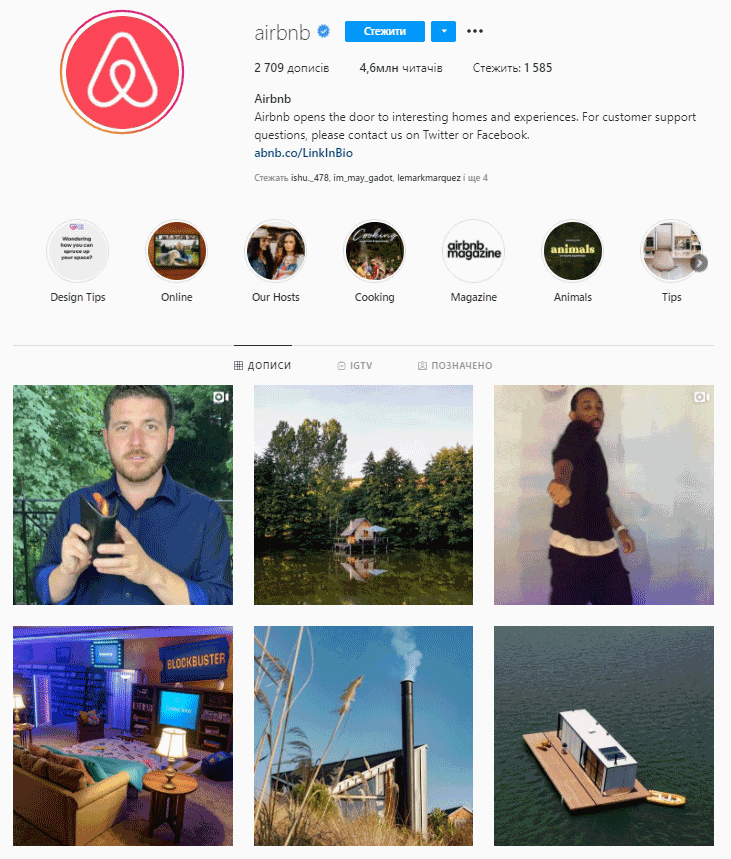 airbnb's instagram account