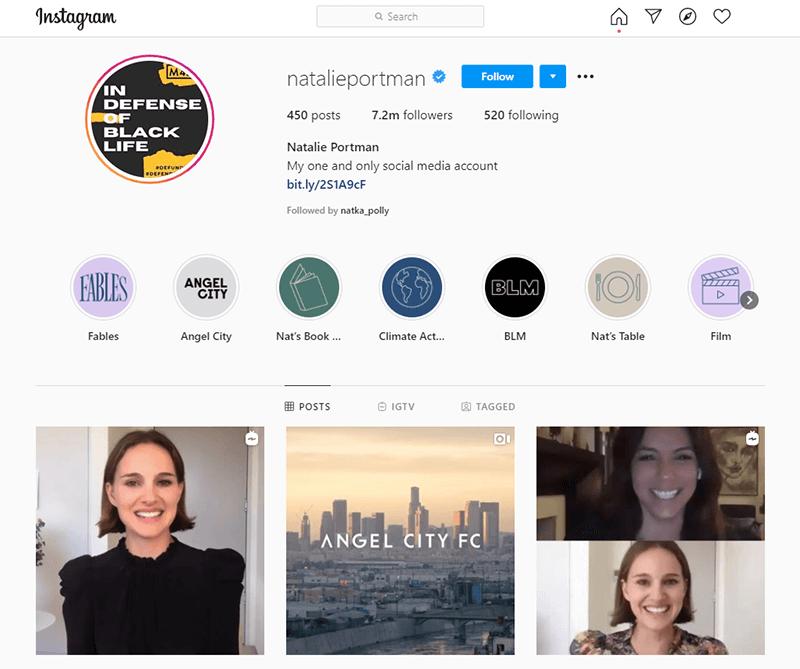 Natalie Portman's personal Instagram account