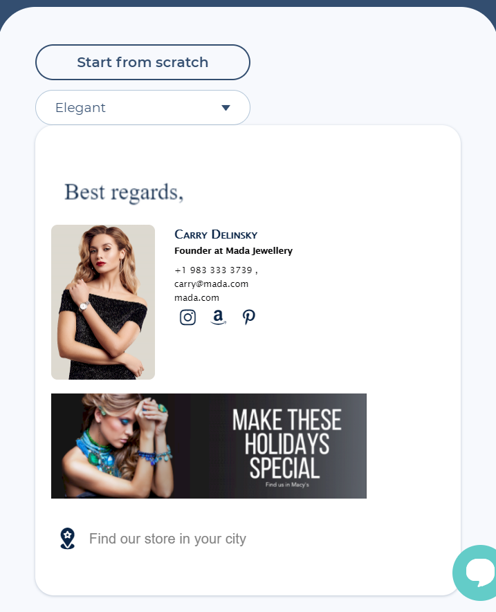 Choose an email signature template