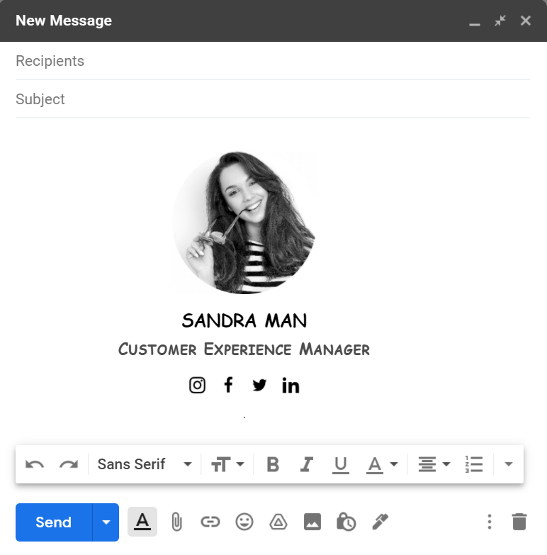 HTML email signature example