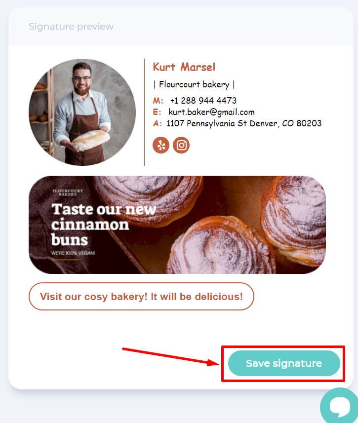 Save your email signature by pressing the Save button