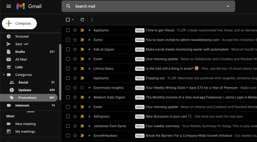 Dark Mode in Gmail