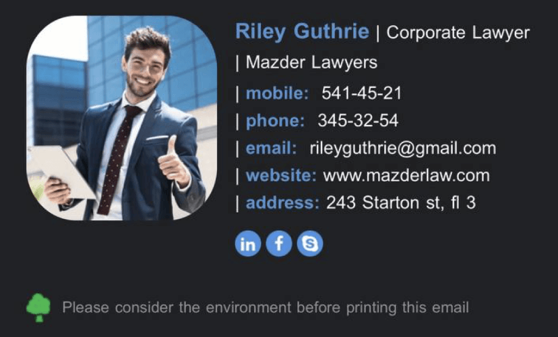 Email sIgnature example with proper font colors