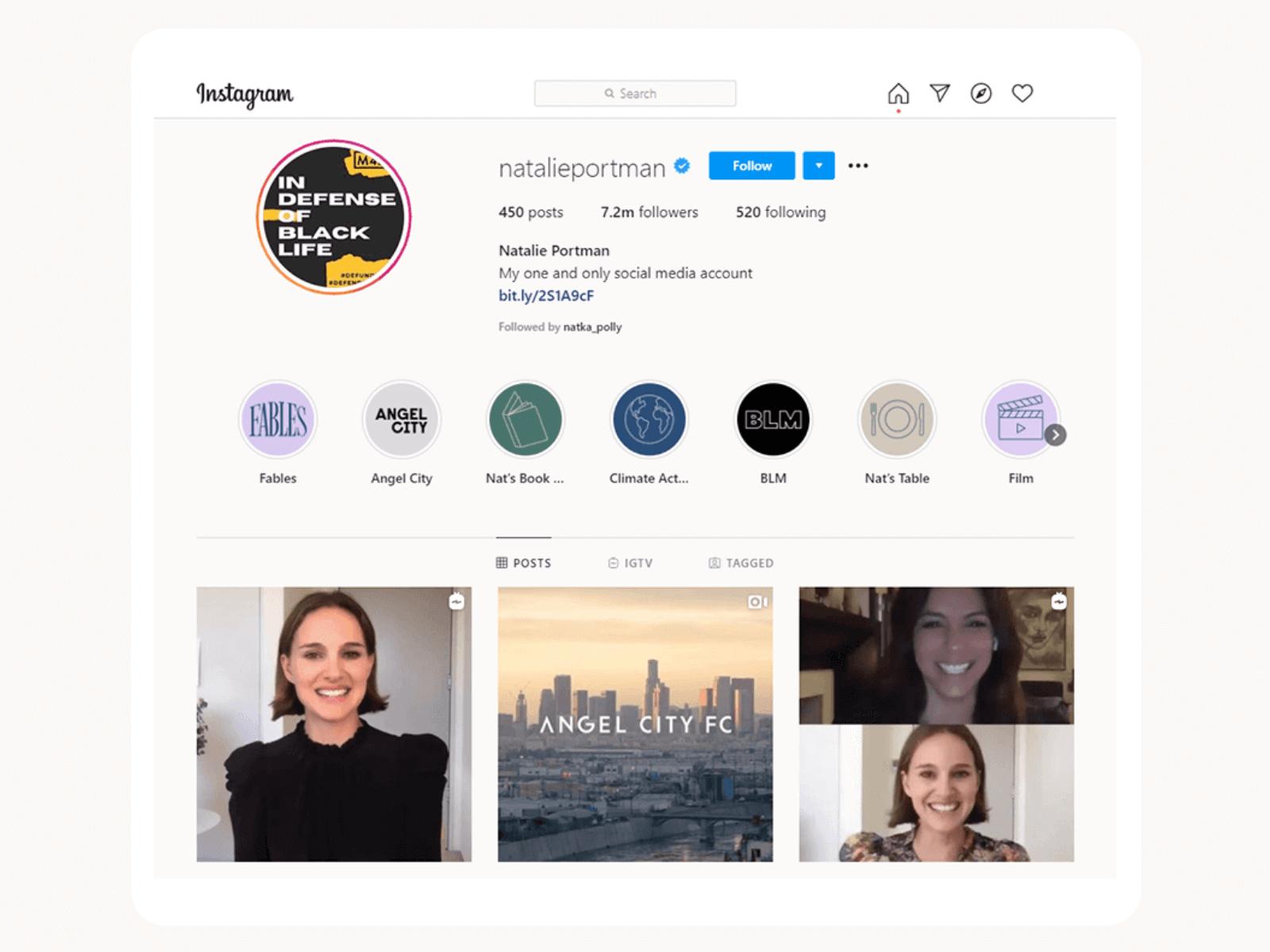 Natalie Portman's Instagram profile