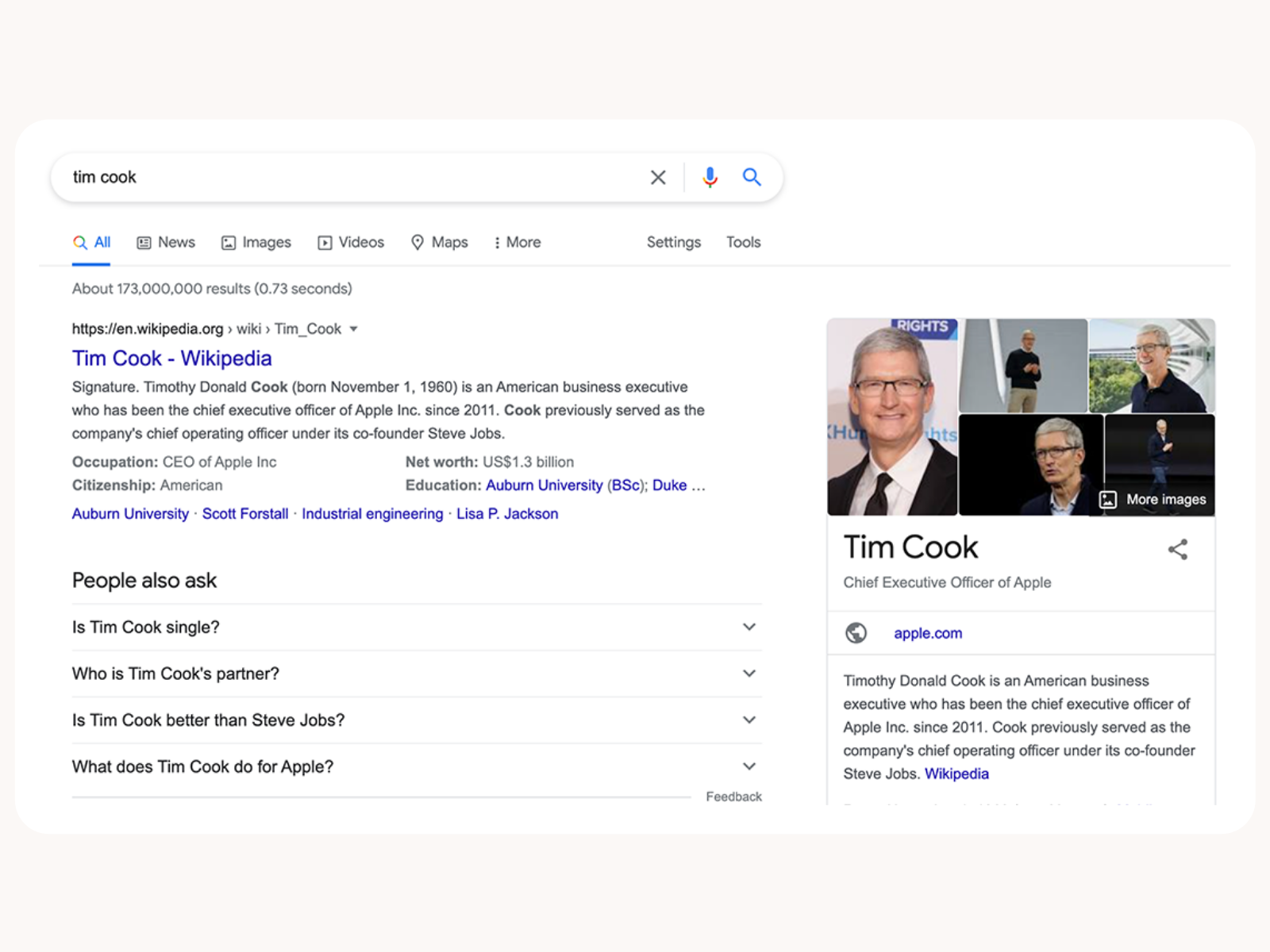 Tim Cook on Google
