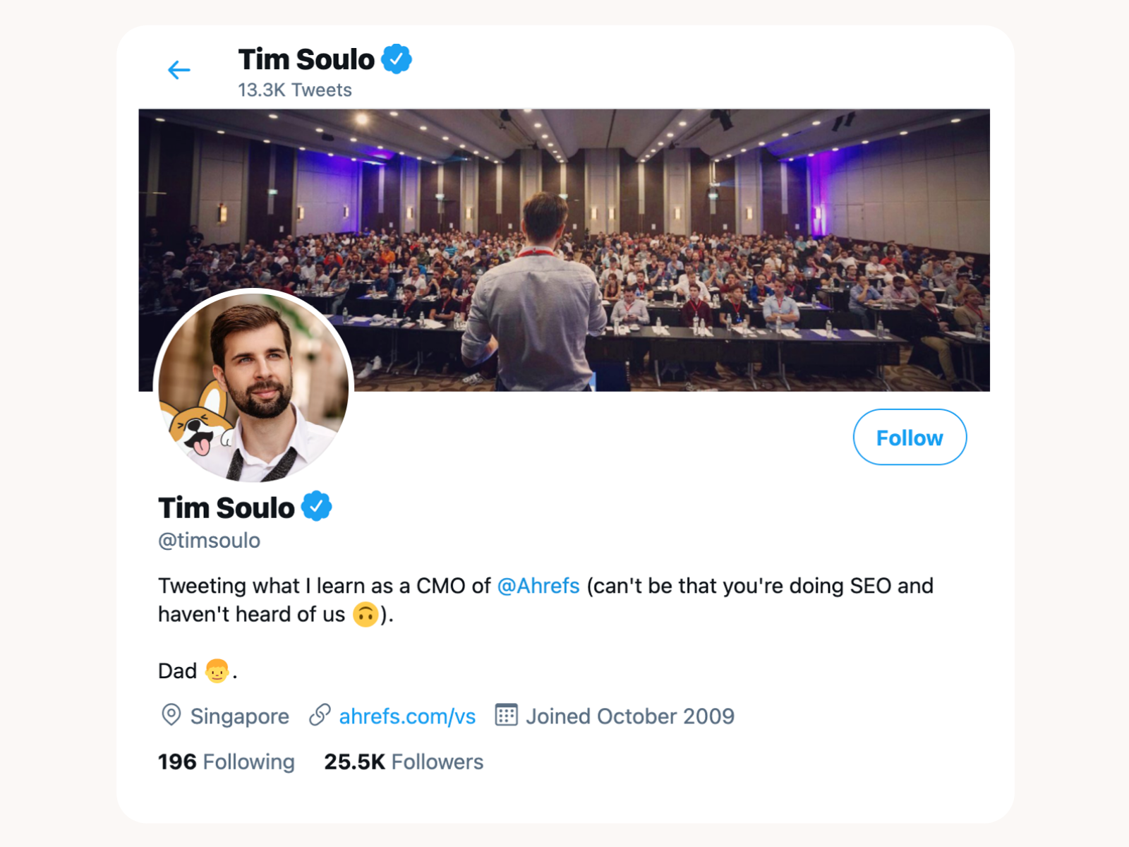 Tim Soulo's Twitter account